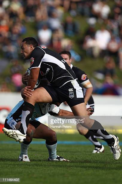 Feleti Mateo of the Warriors charges forward during the round four NRL match between the Cronulla Sharks and the Warriors at Owen Delany Park on...