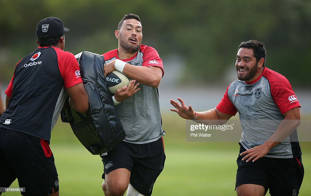 Feleti Mateo of the Warriors is tackled during a New Zealand Warriors NRL training session at Mt Smart Stadium on February 14, 2013 in Auckland, New Zealand.