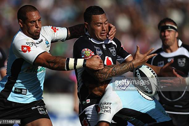 Feleti Mateo of the Warriors offloads the ball during the round four NRL match between the Cronulla Sharks and the Warriors at Owen Delany Park on...