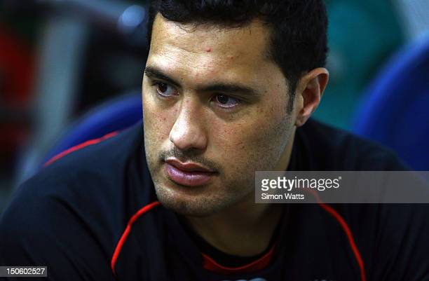 Feleti Mateo of the Warriors speaks to media during a Warriors NRL training session at Mt Smart Stadium on August 23 2012 in Auckland New Zealand