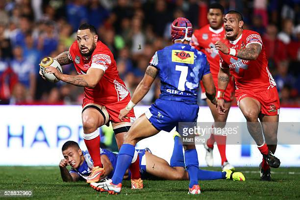Feleti Mateo of Tonga takes on the defence during the International Rugby League Test match between Tonga and Samoa at Pirtek Stadium on May 7 2016...