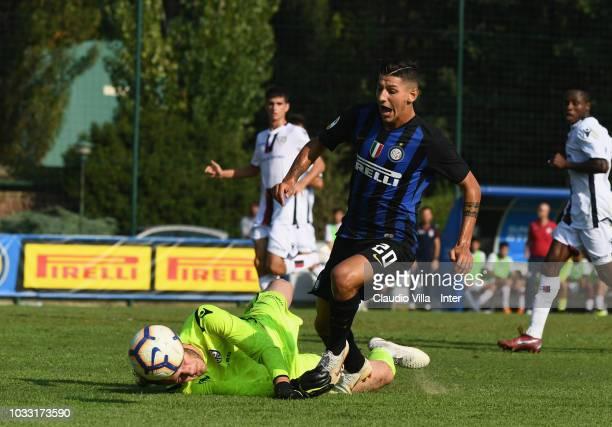 Felice D'Amico of FC Internazionale in action during Fc internazionale U19 V Cagliari U19 match at Stadio Breda on September 14 2018 in Sesto San...