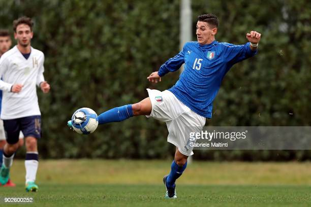 Felice D'Amico of Italy in action during the at Coverciano 'Torneo Dei Gironi' Italian Football Federation U18 Tournament on January 8 2018 in...