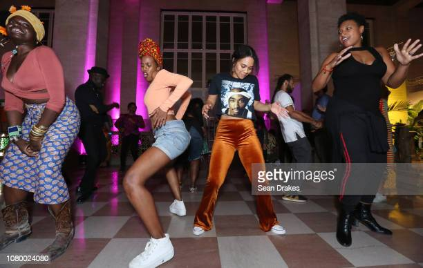 Felice Graham Hanan Oman Keisha Washington and Desiree Parkman dance during a party at the 2018 PRIZM Art Fair as part of Art Basel Miami Beach on...