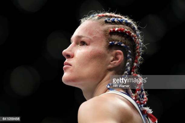 Felice Herrig awaits the decision in the Women's Strawweight Bout against Alexa Grasso during UFC Fight Night at the Toyota Center on February 4 2017...