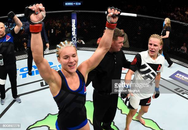 Felice Herrig celebrates after her unanimousdecision victory over Justine Kish in their women's strawweight bout during the UFC Fight Night event at...