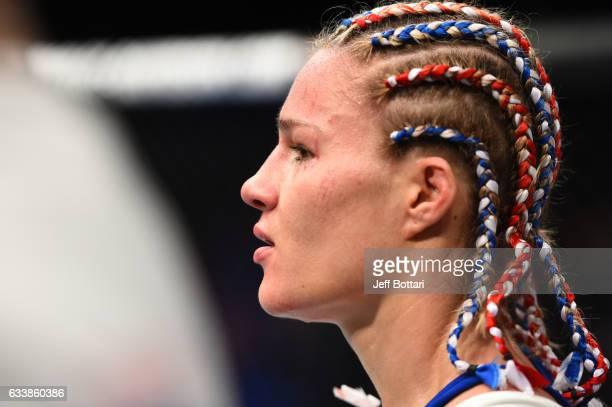 Felice Herrig celebrates her victory over Alexa Grasso of Mexico in their women's strawweight bout during the UFC Fight Night event at the Toyota...
