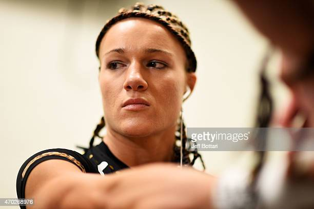 Felice Herrig has her hands wrapped prior to her women's strawweight bout against Paige VanZant during the UFC Fight Night event at Prudential Center...