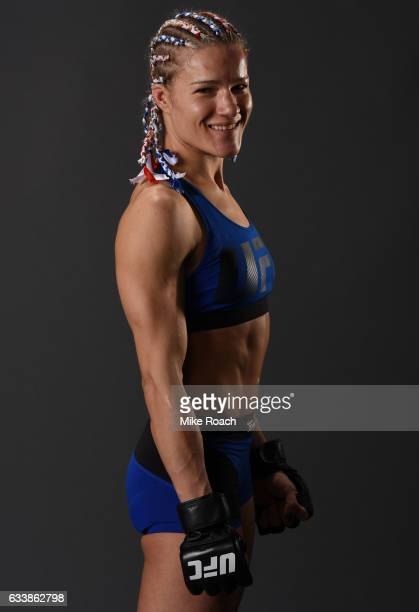 Felice Herrig poses for a picture backstage with Raquel Pennington during the UFC Fight Night event at the Toyota Center on February 4 2017 in...