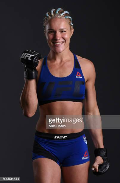 Felice Herrig poses for a portrait backstage after her victory over Justine Kish during the UFC Fight Night event at the Chesapeake Energy Arena on...