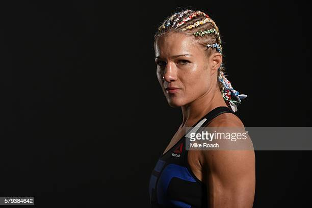 Felice Herrig poses for a post fight portrait during the UFC Fight Night event at the United Center on July 23 2016 in Chicago Illinois