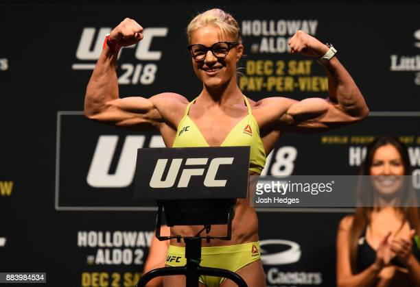 Felice Herrig poses on the scale during the UFC 218 weighin inside Little Caesars Arena on December 1 2017 in Detroit Michigan