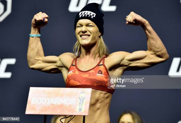 Felice Herrig poses on the scale during the UFC 223 weighin inside Barclays Center on April 6 2018 in Brooklyn New York