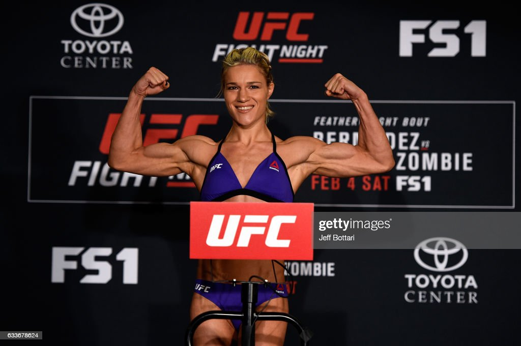 Felice Herrig poses on the scale during the UFC Fight Night weigh-in at the Sheraton North Houston at George Bush Intercontinental on February 3, 2017 in Houston, Texas.