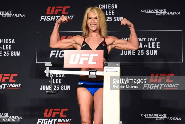 Felice Herrig poses on the scale during the UFC Fight Night weighin on June 24 2017 in Oklahoma City Oklahoma