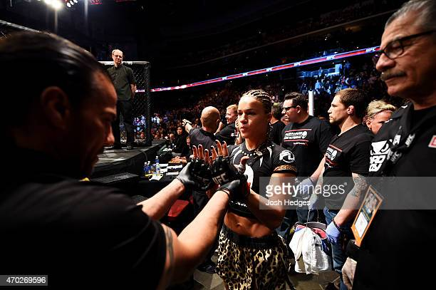 Felice Herrig prepares for her women's strawweight bout against Paige VanZant during the UFC Fight Night event at Prudential Center on April 18 2015...