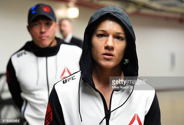 Felice Herrig prepares to enter the arena during the UFC Fight Night event at the United Center on July 23 2016 in Chicago Illinois