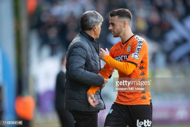 Felice Mazzu and Massimo Bruno of Charleroi during the Jupiler Pro League playoff 2 group A match between Beerschot Wilrijk and Sporting Charleroi on...