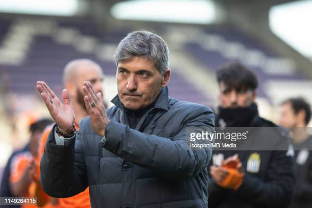 Felice Mazzu of Charleroi thanks supporters during the Jupiler Pro League playoff 2 group A match between Beerschot Wilrijk and Sporting Charleroi on...