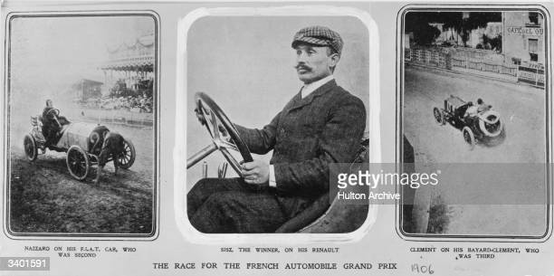 Felice Nazzaro came second in the race for the French Automobile Grand Prix in his FIAT car Sisz came first on his Renault and Clement came third on...