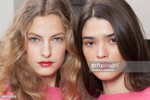 Felice Noordhoff and Alexandra Micu are seen ahead of the Philosophy By Lorenzo Serafini show during Milan Fashion Week Spring/Summer 2018 on...