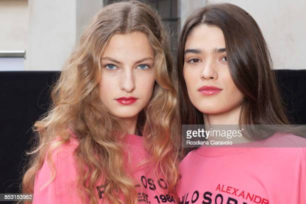Felice Noordhoff and Alexandra Micu are seen backstage ahead of the Philosophy By Lorenzo Serafini show during Milan Fashion Week Spring/Summer 2018...