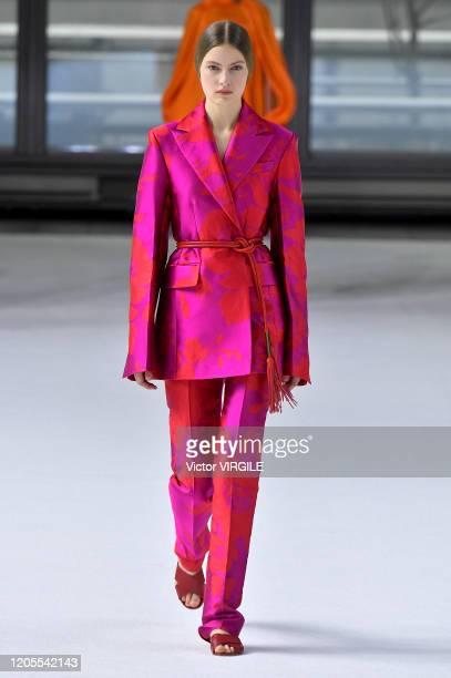 Felice Noordhoff walks the runway at the Carolina Herrera Ready to Wear Fall/Winter 2020-2021 fashion show during New York Fashion Week on February...