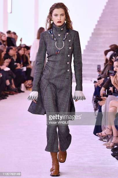 Felice Noordhoff walks the runway at the Chloe Ready to Wear fashion show at Paris Fashion Week Autumn/Winter 2019/2020 on February 28, 2019 in...
