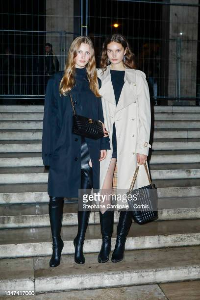 Felice Nova Noordhoff and a guest attend the Burberry Closing Party For Anne Imhof's Exhibition 'Natures Mortes' at Palais De Tokyo on October 18,...