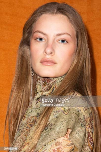 Felice Nova Noordhoff is seen backstage at the Etro fashion show on February 21, 2020 in Milan, Italy.