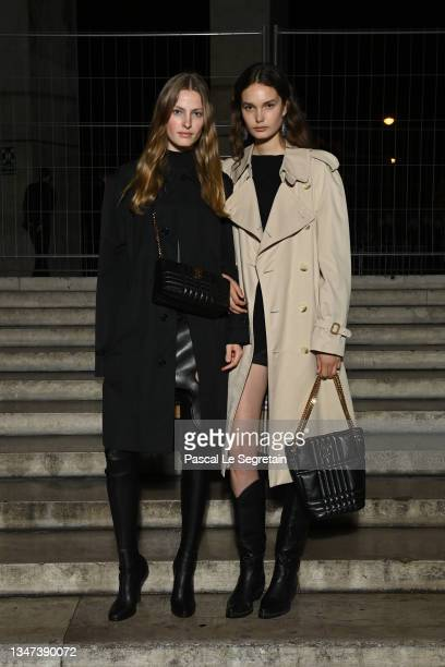 Felice Nova Noordhorf and A guest attends Burberry closing party for Anne Imhof's Exhibition 'Natures Mortes'at Palais de Tokyo on October 18, 2021...