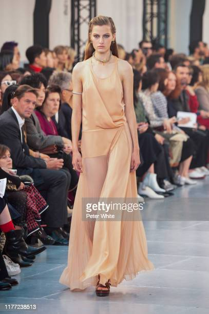 Felice Nova walks the runway during the Chloe Womenswear Spring/Summer 2020 show as part of Paris Fashion Week on September 26, 2019 in Paris, France.