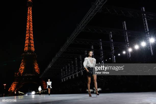 Felice Nova walks the runway during the Saint Laurent show as part of the Paris Fashion Week Womenswear Spring/Summer 2018 on September 26 2017 in...