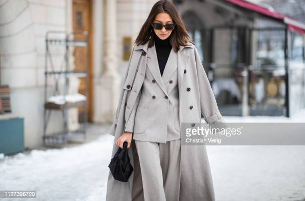 Felicia Akerstrom Ma is seen wearing grey coat blazer wide leg pants during Stockholm Runway Autumn Winter 2019 on February 04 2019 in Stockholm...