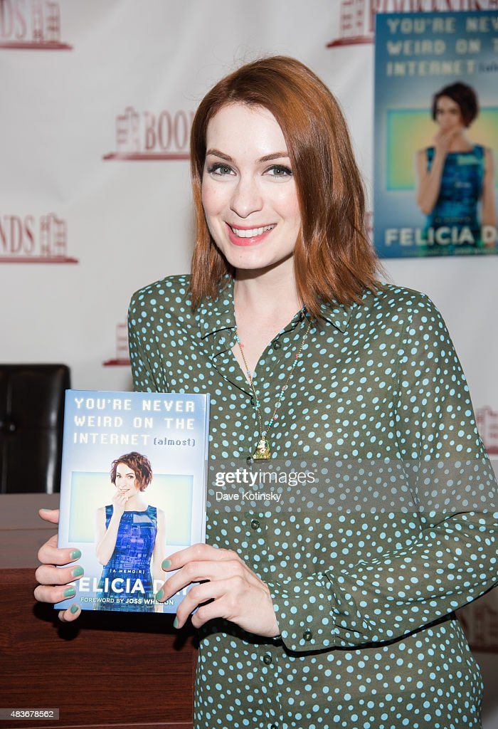 Felicia Day signs copies of her new book 'You're Never Weird on the Internet (Almost)' at Bookends Bookstore on August 11, 2015 in Ridgewood, New Jersey.