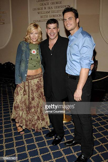 Felicia Finley Bryan Batt and Cheyenne Jackson during Broadway's Celebrity Benefit for Hurricane Relief Backstage at The Gershwin Theatre in New York...
