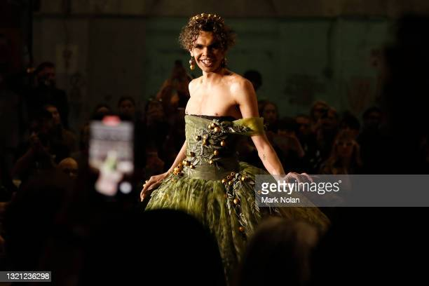 Felicia Foxx walks the runway during the First Nations Fashion + Design show during Afterpay Australian Fashion Week 2021 Resort '22 Collections at...
