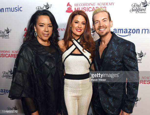 Felicia Greer Hilary Roberts and Damon Sharpe attend MusiCares® Concert For Recovery Presented by Amazon Music Honoring Macklemore at The Novo at LA...