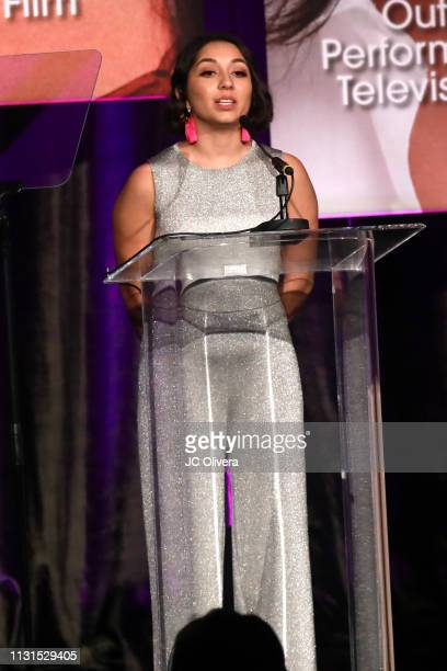 Felicia Mora speaks onstage during the 22nd Annual National Hispanic Media Coalition Impact Awards Gala at Regent Beverly Wilshire Hotel on February...