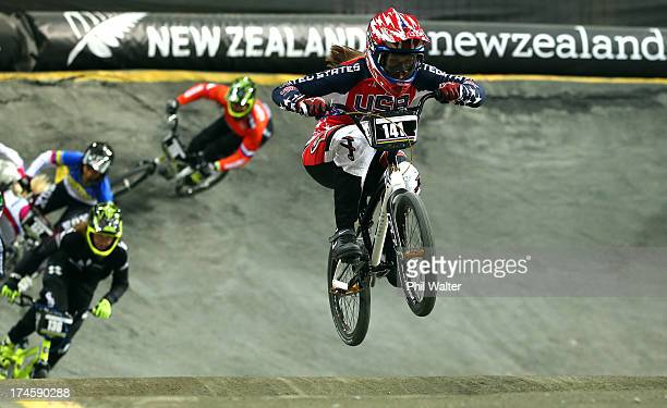 Felicia Stancil of the USA on her way to winning the Womens Junior Final during day five of the UCI BMX World Championships at Vector Arena on July...