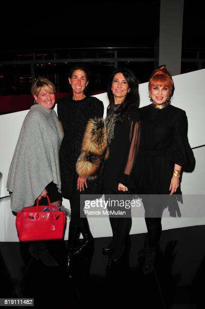 Felicia Taylor Somers Farkas Nazee Moinian and Georgette Mosbacher attend ARMANI Red Carpet Retrospective hosted by Amy Fine Collins in partnership...