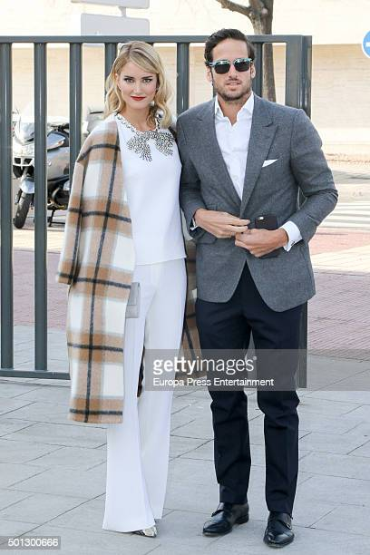 Feliciano Lopez and Alba Carrillo attend the Christening of Juan Pena and Sonia Gonzalez 's son Tristan Pena on December 10 2015 in Madrid Spain