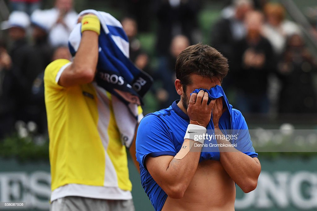 Feliciano Lopez and Marc Lopez of Spain celebrates victory during the Men's Doubles final match against Mike Bryan and Bob Bryan of the United States on day fourteen of the 2016 French Open at Roland Garros on June 4, 2016 in Paris, France.