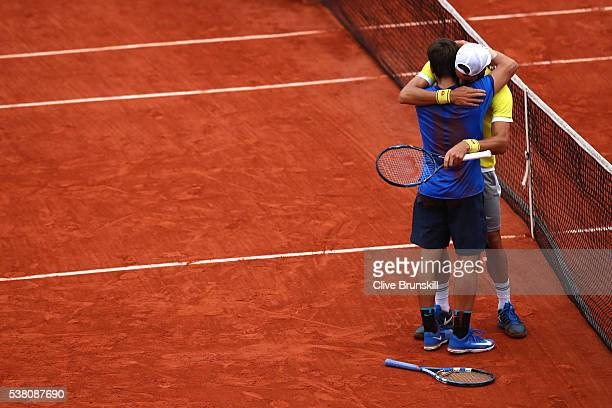 Feliciano Lopez and Marc Lopez of Spain celebrates victory during the Men's Doubles final match against Mike Bryan and Bob Bryan of the United States...
