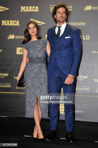 Feliciano Lopez and Sandra Gago attend the 80th Anniversay of 'Marca' Newspaper at Royal Palace on December 13 2018 in Madrid Spain