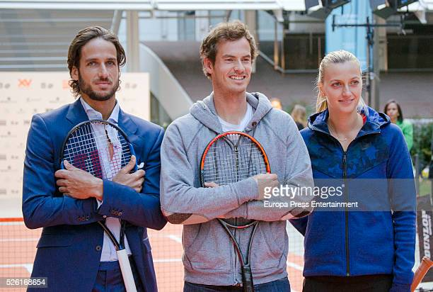 Feliciano Lopez Andy Murray and Petra Kvitova attends the launch of the Tous 'Happy' sunglasses at ThyssenBornemisza museum on April 28 2016 in...