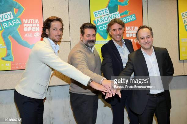 Feliciano Lopez Enrique Tellechea CEO of The Null Gerard Tsobanian CEO of Mutua Madrid Open and Andres San Jose Gutierrez Country Manager Espana of...