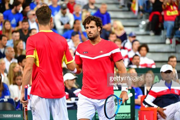 Feliciano Lopez of Spain and Marcel Granollers of Spain during Day 2 of the Davis Cup semi final on September 15 2018 in Lille France