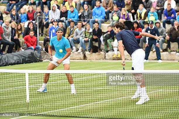 Feliciano Lopez of Spain and Rafa Nadal of Spain defeat Rameez Junaid of Australia and Adil Shamasdin of Canada at the Mercedes Cup on June 9 2015 in...