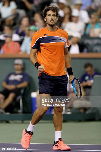 Feliciano Lopez of Spain celebrates a point against Jack Sock during the BNP Paribas Open at the Indian Wells Tennis Garden on March 13 2018 in...